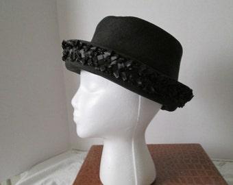 Mid-Century Vintage Black Ladies Hat