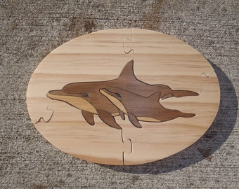 Handmade Dolphin Mother and Calf Jigsaw Puzzle