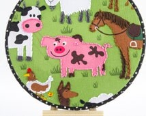 Cute Farm Embroidery Hoop - ready to hang!
