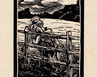 Tudor Countryside Genuine Linocut Original Art Print - 'Summer Troth' (summer love)