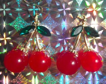 Giant cherry dangly earrings