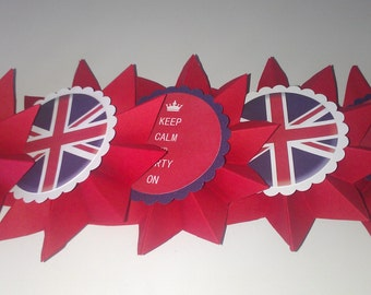 Keep Calm and Party On Banner, Rosette Fan, Union Jack Theme, British Flag Party Garland, Red and Blue Paper Party Decor, Vintage Inspired
