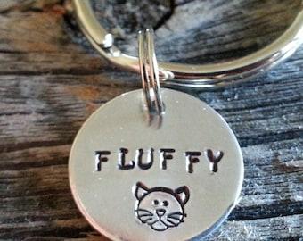 Small Cat Tag / Pet Tag / Pet ID Tag  / Custom Hand Stamped Pet Accessories