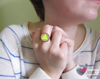 Hand Painted Neon Ring / Geometric jewelry / Yellow neon ring / Fluorescent / Triangle desing