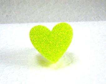 Glittery neon yellow resin heart ring