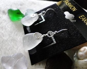 White/Clear Sea Glass Earrings *Sterling Silver*