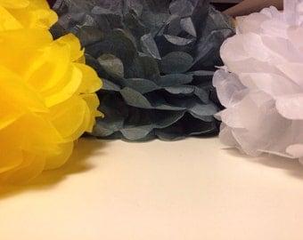 "Yellow Gray White 12 Tissue Paper Pom Pom Bridal Shower Decor Tissue Pom Pom Paper Flowers Tissue Pom Poms Tissue Paper Flowers 12""10"""