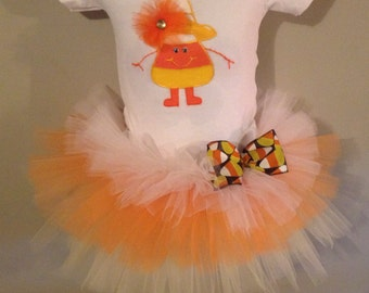 Halloween Candy corn inspired tutu outfit