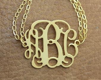 Monogram Bracelet -  1 inch Personalized Monogram Bracelet - Gold Monogram Bracelet - 18k gold plated