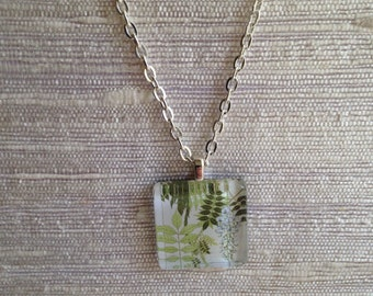 White wisteria necklace, green leaves, glass, silver, plants, flowers, floral