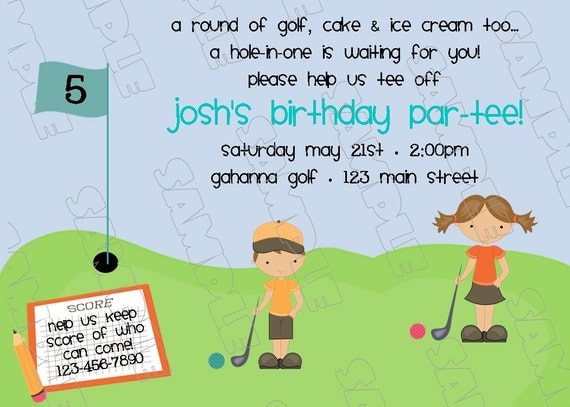 Miniature golf putt putt birthday party printable invitations for Www uprint com templates