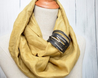 Linen Infinity Scarf. Chunky Scarf. Natural Linen. Mustard. Black cuff.