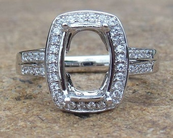 Solid 14K White Gold 7X10MM Cushion Cut Semi Mount Ring / Diamond Ring