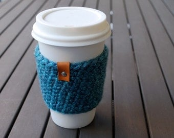 Coffee Cup Sleeve / Coffee Cup Cozy / Coffee Cozy / Tea Cup Sleeve - Glacier Bay Blue