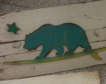 Personalized California Surfing Bear for Kelly Wood Plank Sign...Beach Decor