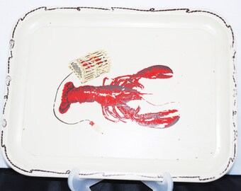 Vintage Lobster Tin Tray / Cottage / Beach House / Shabby Cottage Living