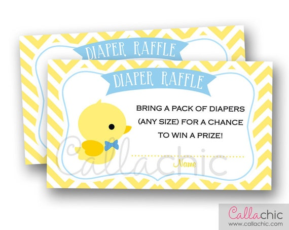 Rubber Duck Diaper Raffle Ticket PRINTABLE - Cute Duck Baby Shower ...