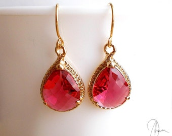 Red Crystal Gold Dangle Earrings - Ruby Berry Red Gold Plated Wedding Bridesmaids Bridal Earrings - Womens Jewellery Gift