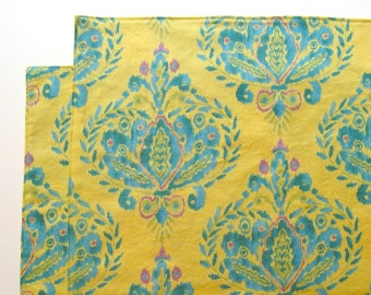 Large Cloth Placemats - Set of 2 - Yellow Turquoise Design Ikat -  Reversible