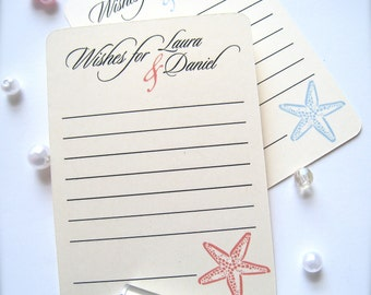Wedding wishes cards, advice cards, beach wedding wish cards, wedding guest book, wedding advice cards, bridal shower cards - 30 cards(ac6)