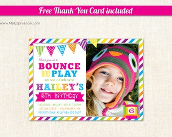 Bright Stripes Bounce House Girls Birthday Photo Card - Pump It Up Birthday Party - Girls Photo Birthday Invitations - Printable