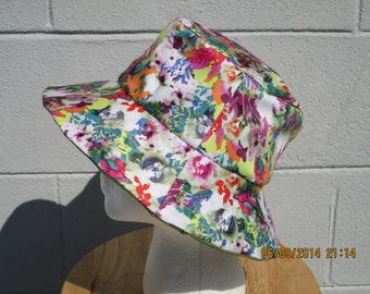 """Bucket Hat 21"""" Floral print with twinkle green corduroy Reversible"""