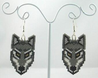 Beaded Wolf Earrings