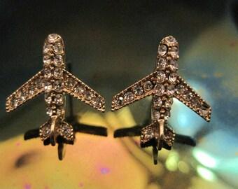 Gold Airplane Earrings - Stud Earrings - Rhinestone Airplane Earrings - Airplane Earrings - Airplane Jewelry