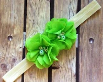 Sophia headband, green headband, elastic headband, lime green headband, neon headband, halo, flower girl headband, floral headband,