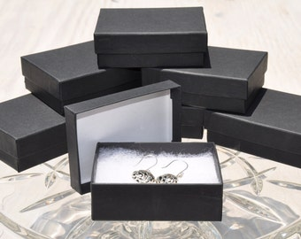 20 Black Matte 3.25x 2.25x1 Gift Jewelry Boxes Retail Presentation with Cotton Fill Size 32