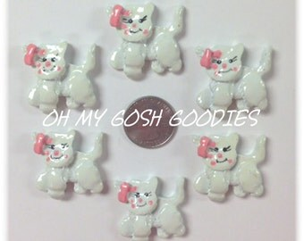 2 Piece Set  PINK BOW KITTY Hairbow Centers - Oh My Gosh Goodies Resins