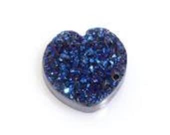 Blue Drusy Quartz Heart Cabochon Loose Gemstone 1A Quality 12mm TGW 2.65 cts.