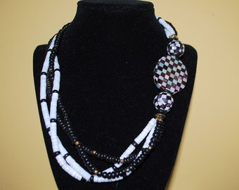 Vintage asymetrical Abalone and MOP necklace and bracelet