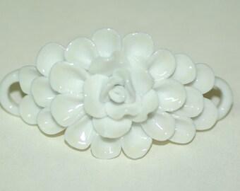 Ceramic Pendant  Flower Ivory White Glazed 30x50 mm 2 loop connector