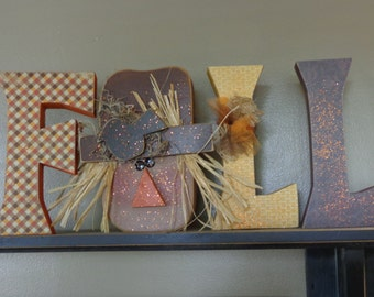 Chunky Fall Wood Letter Set in Fall colors w/scarecrow
