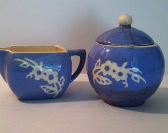 Very old Cameoware sugar bowl w/ lid and creamer
