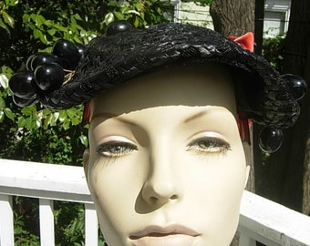 Beautiful Black  Straw 1920s Summer Hat