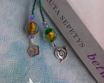 Green Beaded Book Mark with Charms
