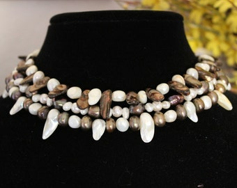 3-Strand Spiky Pearl Necklace
