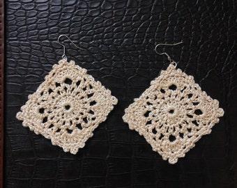 Diamond Shaped Crochet Earrings.  Approx. 2 1/2 inches in diameter.