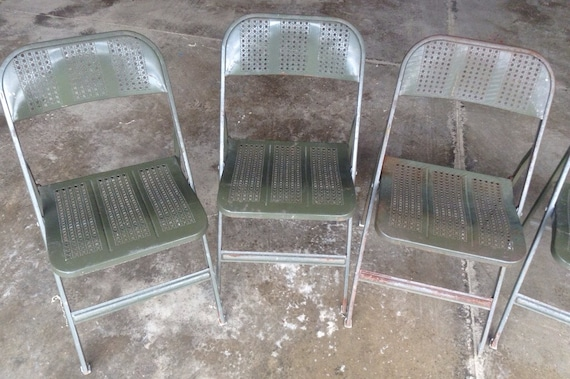 Lyon Aurora ILL Metal Folding Chairs Machine Age Industrial