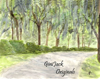 Original Watercolor Painting,  Bonaventure Cemetery #1, Savannah GA,   11x14 Original Painting