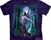 Woman's t-shirt, fairy, moonlight fairy ,multicolored, stonewashed, preshrunk cotton size medium