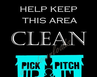 Digital Download - Keep Clean Sign -  Wall Art - choice of four 11 x 14 prints