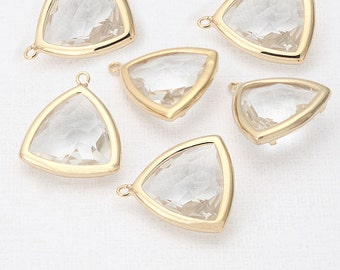 Crystal Glass Triangle Pendant  Polished Gold -Plated - 2 Pieces [SS0001-PGCR]
