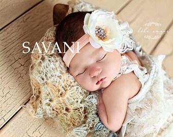 Baby Headband ,Ivory peach lace Headband,Baby girl Headband,Newborn Headband, Headbands,Shabby Chic Headband, Headband, Baby Headbands
