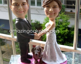 Sculpted Custom Funny Wedding Cake Topper Figurine Dog Pet Animal Personalized Toppers Unique