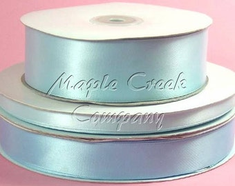 3/8 inch x 100 yards of Light Blue Double Face Satin Ribbon