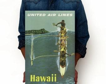 "Hawaii Vintage Poster, United Air Lines Travel Poster Art Print, Art Posters, Minimalist Art 13"" x 19"""