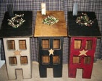 Primitive Saltbox House Lighted U pick your color!!  Distressed